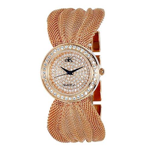 Adee Kaye Fame Damen 32 5mm Rotgold Blech Armband Blech Gehaeuse Uhr ak20 LRG CR