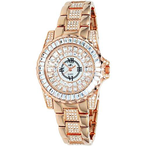 Adee Kaye Royal Damen Rotgold Blech Armband Blech Gehaeuse Uhr AK9 11LRG CR