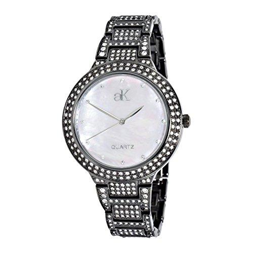 Adee Kaye Perlas Damen Schwarz Blech Armband Blech Gehaeuse Uhr AK23 LIPB CR
