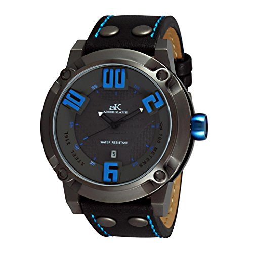 Adee Kaye Blitz Herren Schwarz Leder Armband Mineral Glas Uhr AK7281 MIPG GY BU