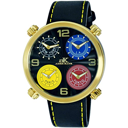 Adee Kaye Zone Herren Schwarz Leder Armband Edelstahl Gehaeuse Uhr AK2275 MG