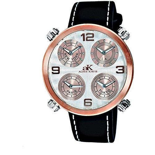 Adee Kaye Zone Herren Schwarz Leder Armband Edelstahl Gehaeuse Uhr AK2275 MRGSV
