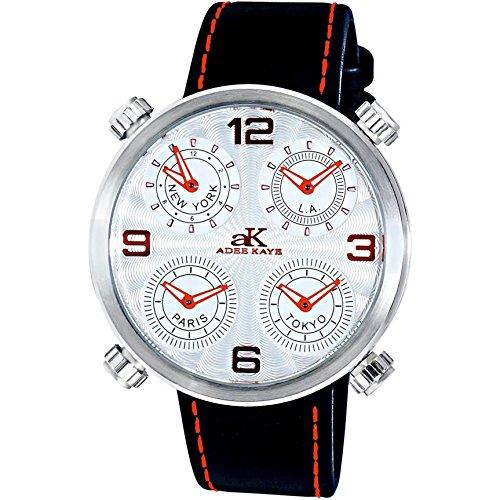 Adee Kaye Zone Herren Schwarz Leder Armband Edelstahl Gehaeuse Uhr ak2275 MSV