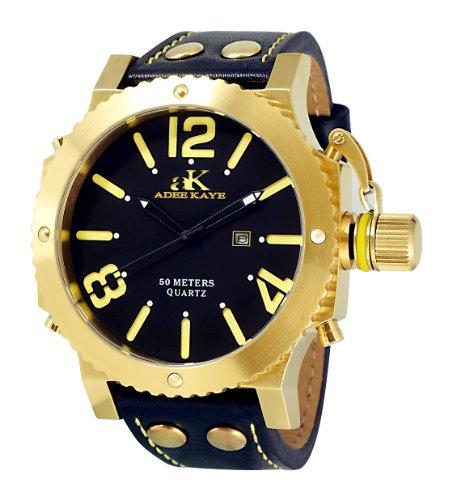 Adee Kaye Mondo G2 Herren Schwarz Leder Armband Edelstahl Gehaeuse Uhr ak7211 MG