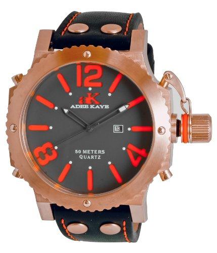 Adee Kaye Mondo G2 Herren Schwarz Leder Armband Edelstahl Gehaeuse Uhr ak7211 MRG