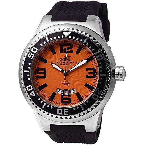 Adee Kaye Yatch Herren Schwarz Silizium Armband Mineral Glas Uhr AK2230 MSS SM