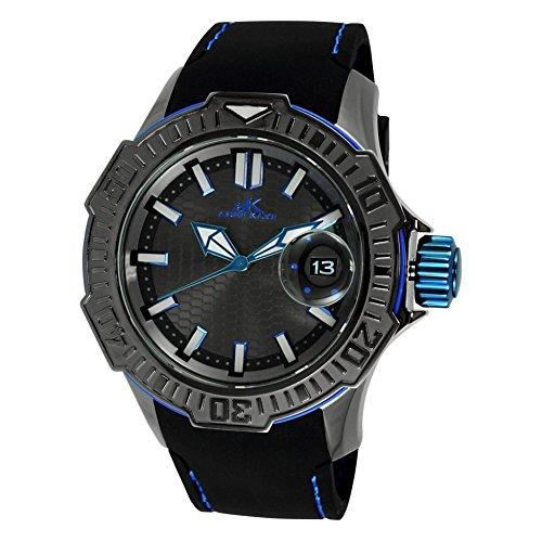Adee Kaye Grand Mond G2 Herren Schwarz Silizium Armband Datum Uhr AK7752 MIPGn