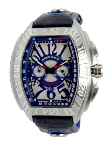 Adee Kaye Tonneau Blau Leder Armband Datum Uhr AK7230 M BU