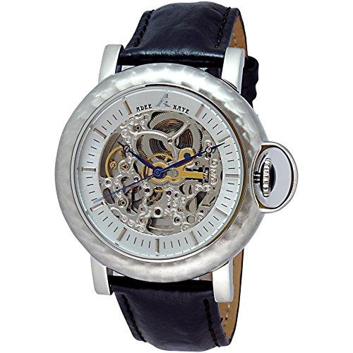 Adee Kaye Pacwa Vintage Herren Automatikwerk Schwarz Leder Armband Uhr AK7119 M