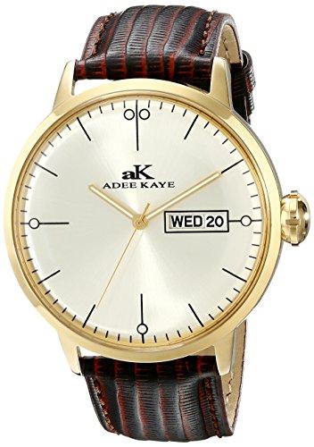 Adee Kaye Vintage Herren Braun Leder Armband Edelstahl Gehaeuse Uhr AK2226 MG