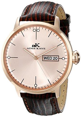 Adee Kaye Vintage Herren Braun Leder Armband Edelstahl Gehaeuse Uhr AK2226 MRG RG