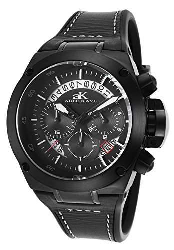 Adee Kaye Phantom Herren-Armbanduhr 45mm Armband Silikon Schwarz Quarz Chronograph AK6368-MIPB-BK
