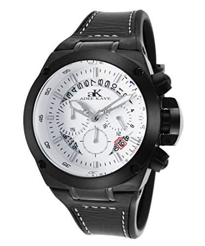 Adee Kaye Phantom Herren-Armbanduhr 45mm Armband Silikon Schwarz Quarz Zifferblatt Weiss AK6368-MIPB-WT