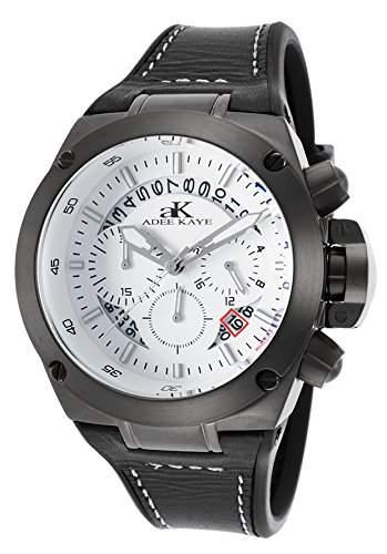 Adee Kaye Phantom Herren-Armbanduhr 45mm Armband Silikon Schwarz Quarz Zifferblatt Weiss AK6368-MIPGN-WT
