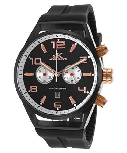 Adee Kaye Raven Herren-Armbanduhr 45mm Armband Silikon Gehaeuse Vergoldetes Edelstahl Quarz AK7232-MRG