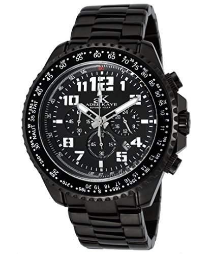 Adee Kaye Aviation Herren-Armbanduhr 49mm Armband Vergoldetes Edelstahl Schwarz + Gehaeuse Quarz AK9004