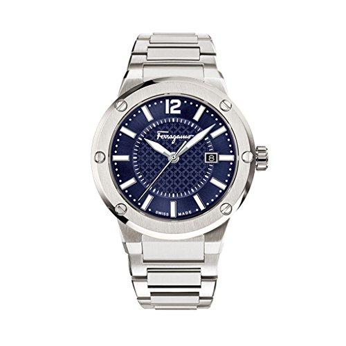 Salvatore Ferragamo F 80 Herren Quarzuhr mit blauem Zifferblatt und Edelstahl Armband FIF030015