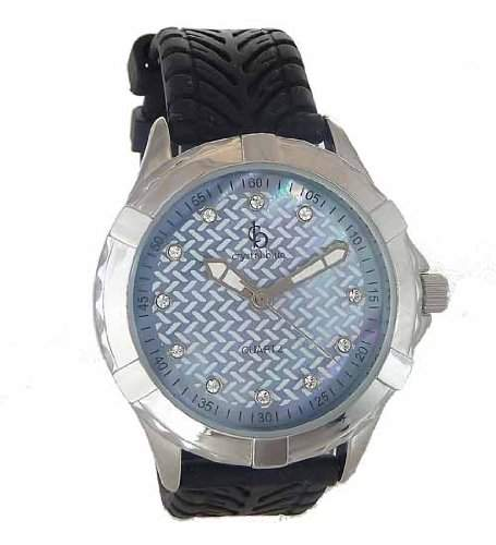 Crystal Blue Damenuhr inkl Swarovski Elements, Silikonband schwarz