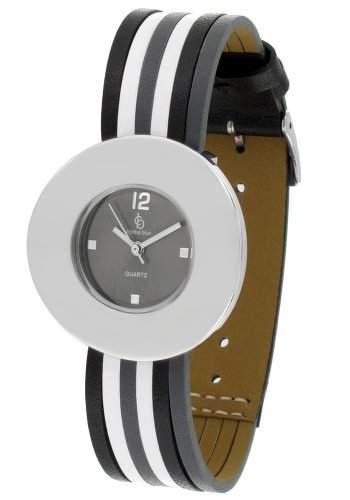 Crystal blue Damen-Armbanduhr Lederarmband Analog Quarz schwarz weiss grau 20225