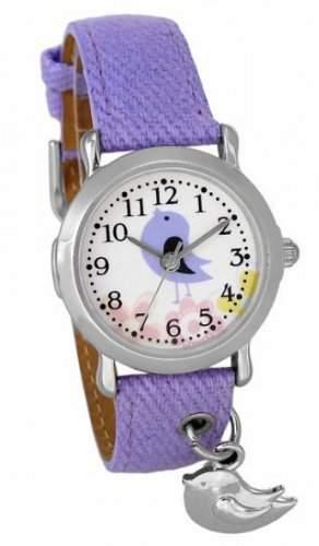 Crystal blue Kinder-Armbanduhr Vogel Anhaenger Analog Quarz violett 20265