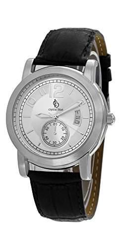 Crystal blue Herren-Armbanduhr Lederarmband kroko Datum Analog Quarz schwarz 20814