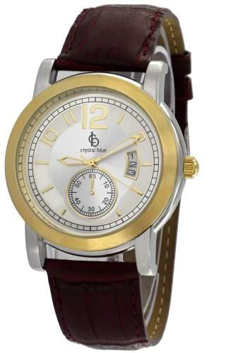 Crystal blue Herren-Armbanduhr Lederarmband kroko Datum Analog Quarz braun 20815