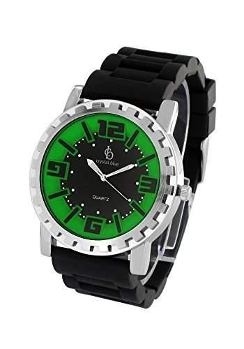 Crystal blue Herren-Armbanduhr Silikon Analog Quarz schwarz gruen 20822