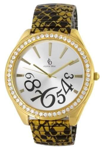 Crystal blue goldene Damen-Armbanduhr Zugarmband MADE WITH SWAROVSKI ELEMENTS Analog Quarz Schlangen Design 21701