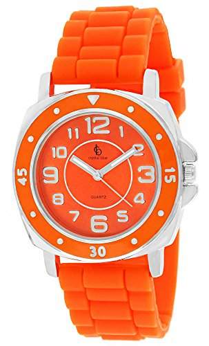 Crystal blue Unisex-Armbanduhr Softgummi Silikon XXL Analog Quarz neon orange 21831