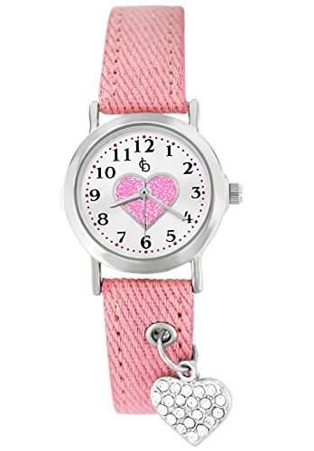 Crystal blue kids Kinder-Armbanduhr Herz Prinzessin Textilarmband Analog Quarz rosa 21933