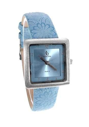 Crystal blue Damen-Armbanduhr Polyurethan Lederarmband Blumen Analog Quarz silber blau Sonderangebot 22095