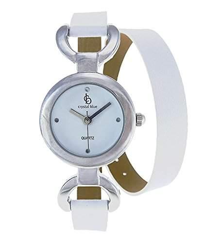 Crystal Blue Damen Uhr Wickelband Leder weiss