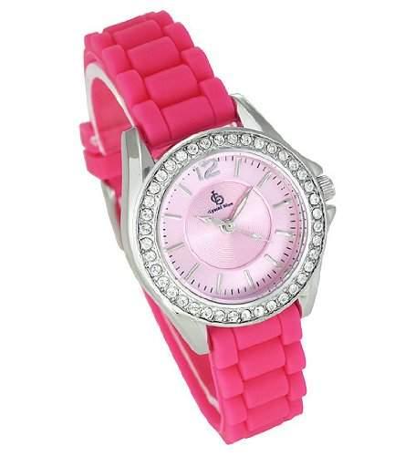 Crystal Blue Damenuhr Maedchen Silikonband pink made with Swarovski Elements
