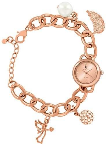 Crystal blue Damen-Armbanduhr Bettelarmband Uhr Anhaenger Engel Perle Engelsschwinge Fluegel funkelnde Kugel Analog Quarz rose gold 85653