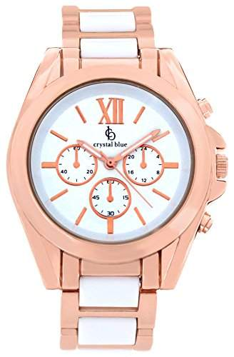 Crystal blue Damen-Armbanduhr rose gold Chrono Look Sicherheits-Faltschliesse Analog Quarz rosegold 922255