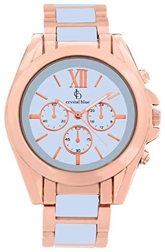 Crystal blue Damen-Armbanduhr rose gold Chrono Look Sicherheits-Faltschliesse Analog Quarz rosegold 922256