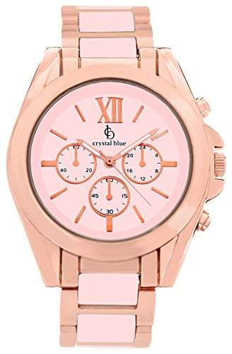 Crystal blue Damen-Armbanduhr rose gold Chrono Look Sicherheits-Faltschliesse Analog Quarz rosegold 922257