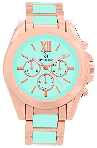 Crystal blue Damen-Armbanduhr rose gold Chrono Look Sicherheits-Faltschliesse Analog Quarz rosegold 922258