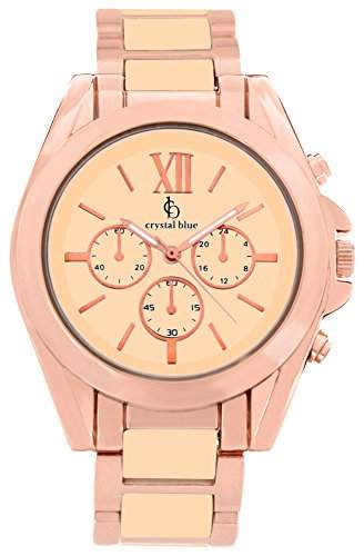 Crystal blue Damen-Armbanduhr rose gold Chrono Look Sicherheits-Faltschliesse Analog Quarz rosegold 922259