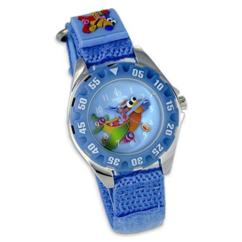 Crystal blue Kids Kinder Uhr blau Klettverschlussband Flugzeug