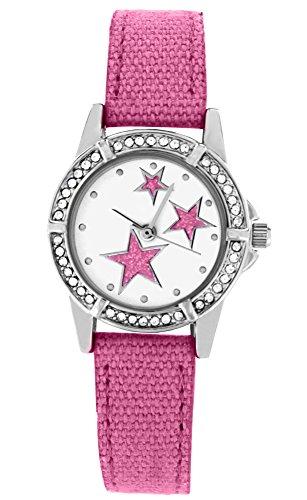 Crystal blue bzw Jugend Armbanduhr funkelnder Strass Sterne Textilarmband Analog Quarz rosa 20017