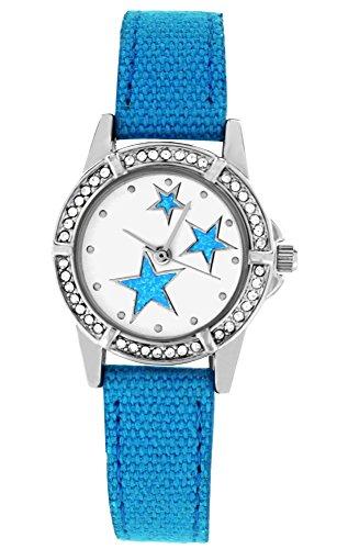 Crystal blue bzw Jugend Armbanduhr funkelnder Strass Sterne Textilarmband Analog Quarz tuerkis 20014