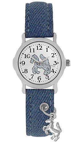 Crystal blue Kinder Armbanduhr Pferd Anhaenger Analog Quarz blau 20179