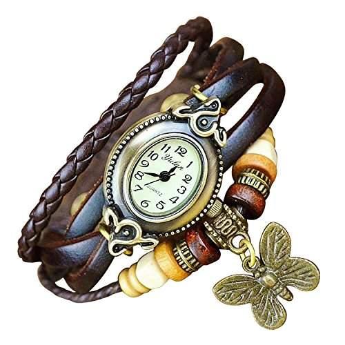 Boolavard® TM Uhr Leder Armbanduhr Armreif Damenuhr Lady Quarz Bracelet Beads Watch Geschenk Gift montre de poche B4 Schmetterling