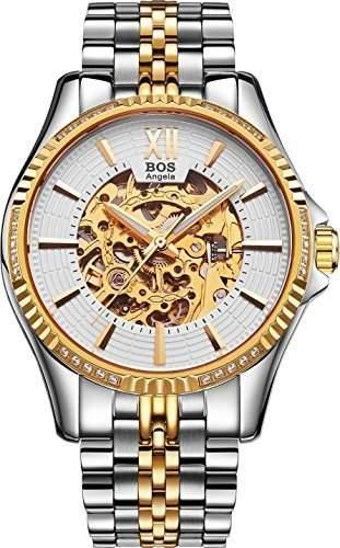 Angela BOS Herren Gold Gehaeuse mechanische Skeleton Edelstahl-Band wasserdichte Armbanduhr 9010