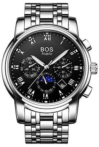 Angela BOS Herren Mechanische Silber-Tone Schwarzes Zifferblatt Edelstahl Wasserdichte Uhr mit Gliederarmband