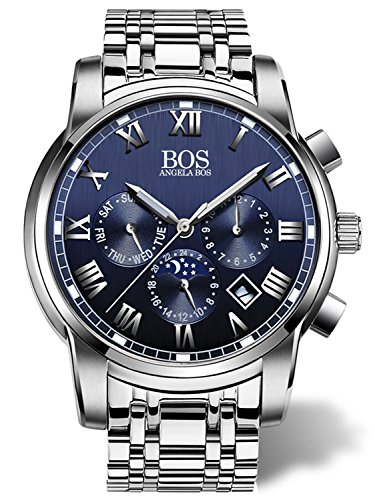 Angela Bos Herren Quarz Armbanduhr Chronograph Edelstahl Band Blau 8006