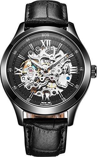 Angela Bos mechanisch phosphoreszierende Zeiger Skelettdesign mit schwarzem Zifferblatt Armband aus Kalbsleder