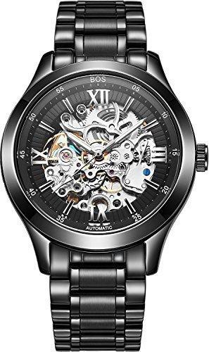 Angela Bos Herren Armbanduhr mechanisch phosphoreszierende Zeiger Skelettdesign mit schwarzem Zifferblatt Stainless Steel Schwarz