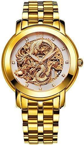 Angela Bos Herren ausgehoehlten Chinese Dragon Fashion Mechanische Wasserdicht Armbanduhr Weiss Zifferblatt Edelstahl Band